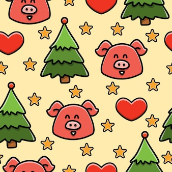 Pig cartoon doodle seamless pattern