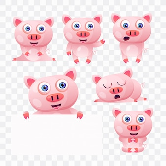 Pig cartoon with different poses and expressions.