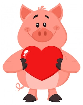 Pig character holding a valentine love heart