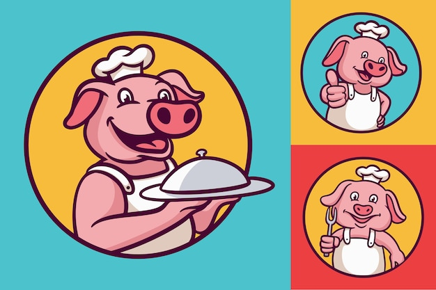 Pig chef cartoon animal logo mascot illustration pack