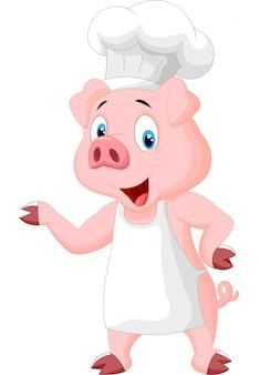 Pig chef cartoon presenting