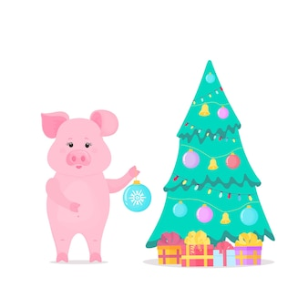 Pig decorates the christmas tree. boxes with gifts. chinese new year.