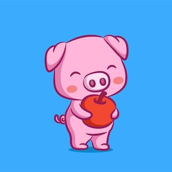 Свинья дизайн дает красное яблоко на руках