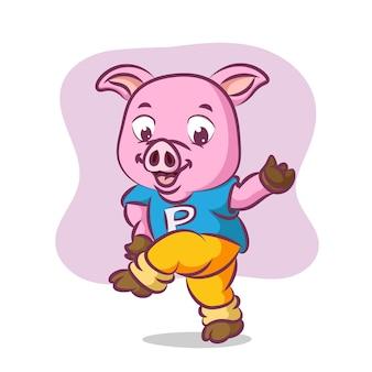 Свинья занимается спортом с полным духом Premium векторы