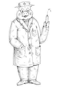 Pig dressed in the doctor hat and gown holding syringe. vintage vector monochrome hatching illustration isolated on white background. hand drawn design element for t-shirt
