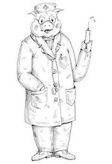 注射器を保持している医者の帽子とガウンに身を包んだ豚。白い背景で隔離のヴィンテージベクトルモノクロハッチングイラスト。 tシャツの手描きのデザイン要素