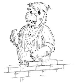 レンガとこてを保持している全体と建設用ヘルメットに身を包んだ豚。白い背景で隔離のヴィンテージベクトルモノクロハッチングイラスト。 tシャツの手描きのデザイン要素