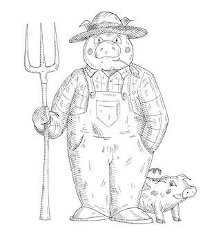 全体的な保持注射器に身を包んだ豚。白い背景で隔離のヴィンテージベクトルモノクロハッチングイラスト。 tシャツの手描きのデザイン要素