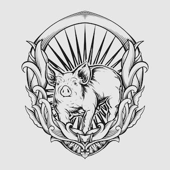 Свинья гравировка орнамент для татуировки и футболки