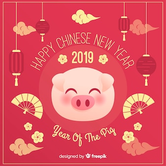 Pig face chinese new year background