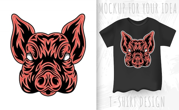 Pig face. design element for poster, card, banner.