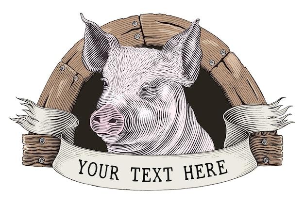 養豚場のロゴの手描きのヴィンテージ彫刻スタイルのクリップアートを白で隔離