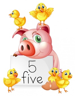 Pig and five little chicks