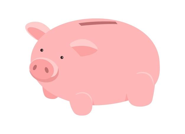 돈을 절약하기 위한 돼지 세미 플랫 컬러 벡터 개체입니다. 돼지 저금통. 현금을 제쳐두고. 돈 상자입니다. 재정 관리 그래픽 디자인 및 애니메이션에 대한 격리 된 현대 만화 스타일의 그림