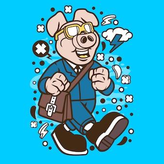 Pig going to work cartoon