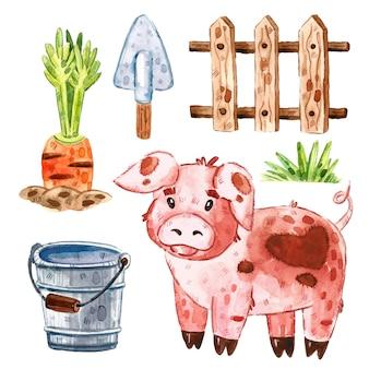 豚、草、木製のフェンス、ニンジン、バケツ、シャベル。農場の動物のクリップアート、一連の要素。水彩イラスト。