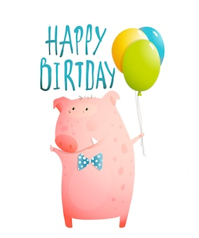 Pig greeting happy birthday card for children