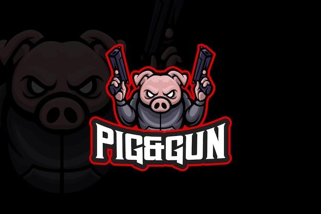 Pig & gun - esport logo template