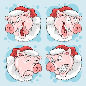 Pig head santa claus christmas