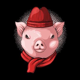 Свинья голова носить шапочку и шарф иллюстрация
