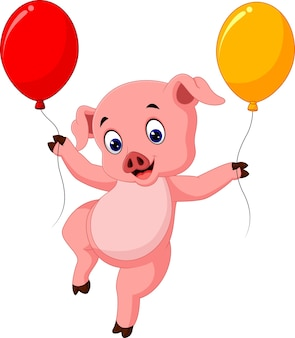 Pig holding balloon