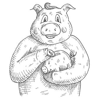 お金で貯金箱を保持している豚。白い背景で隔離のヴィンテージベクトルモノクロハッチングイラスト。 tシャツの手描きのデザイン要素