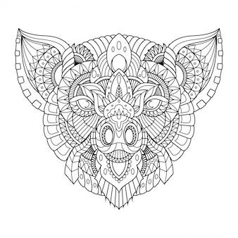 豚イラスト、直線的なスタイルの塗り絵のマンダラzentangle