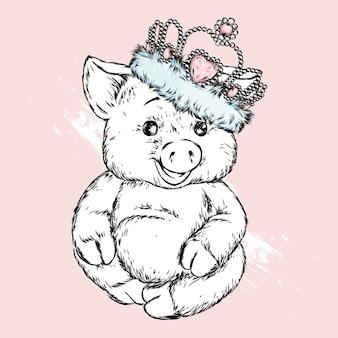 왕관의 돼지.