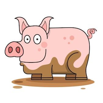Свинья в грязи векторная иллюстрация