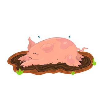 Свинья купается в грязи. картинки. изолировать на белом фоне.
