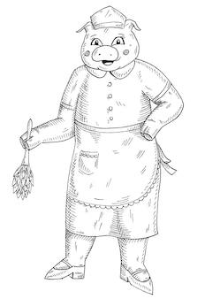 豚はメイドコスチュームに身を包み、ほこりを拭き取ります。白い背景で隔離のヴィンテージベクトルモノクロハッチングイラスト。 tシャツの手描きデザイン