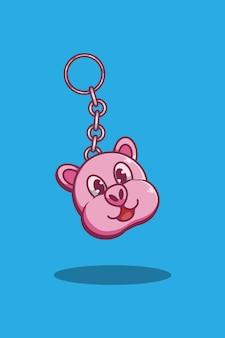 Свинья брелок иллюстрации шаржа