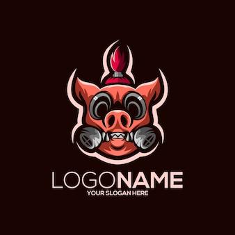 Pig logo design illustration