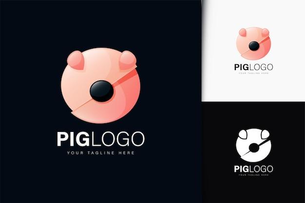 グラデーションの豚のロゴデザイン