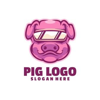白で隔離される豚のロゴ