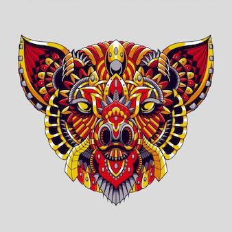 豚マンダラzentangleイラストとtシャツデザインプレミアムベクトル