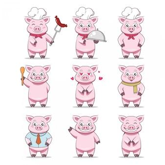 Иллюстрация дизайна талисмана свиньи