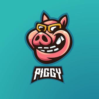 Esport 용 돼지 마스코트 로고 엠블럼