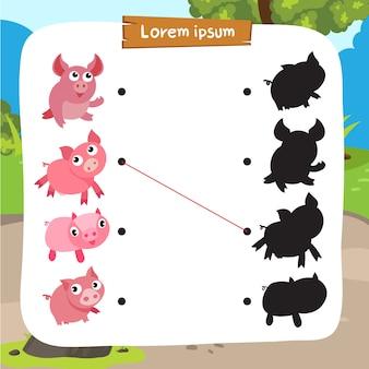 Pig matching game vector design