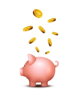 Pig money box. piggy money save bank. pig toy for coins saving box concept. wealth deposit.