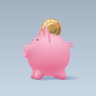 Копилка свиньи с реалистичной иллюстрацией золотых монет