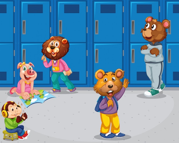 Pig, monkey, bears in school setting