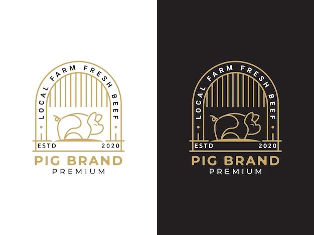 돼지 모노 라인 로고 디자인 컨셉