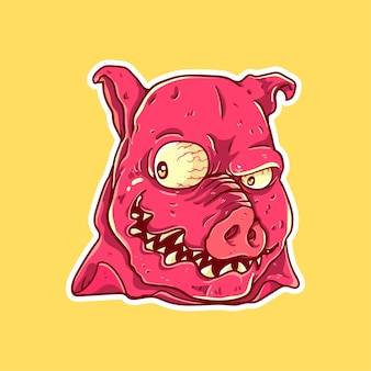 Pig monster face character