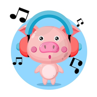 Pig music cute