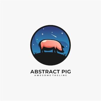 Pig night illustration logo design template