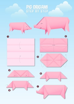 Pig origami instruction step by step