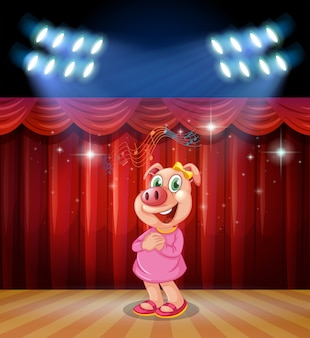 Pig perform on stage