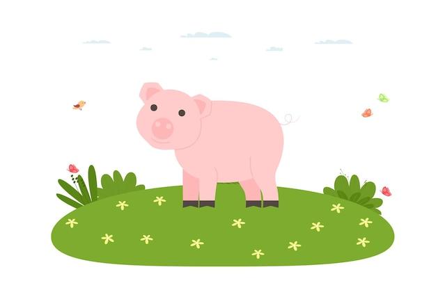 Свинья. домашнее животное, домашнее и сельскохозяйственное животное. свинья гуляет по лужайке. векторные иллюстрации в мультяшном стиле.