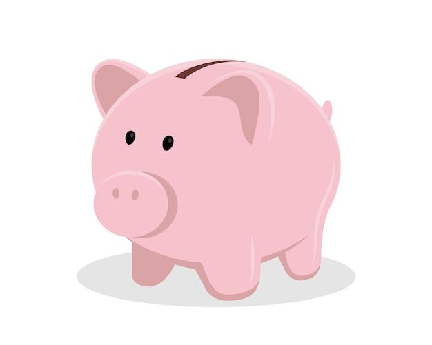 Pig piggy bank vector illustration isolated on white background, flat design.